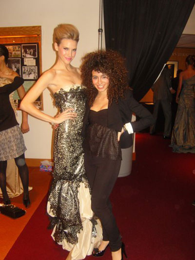 Lebanese designer Rania Salibi with model Jenna Hurt at The Oscars
